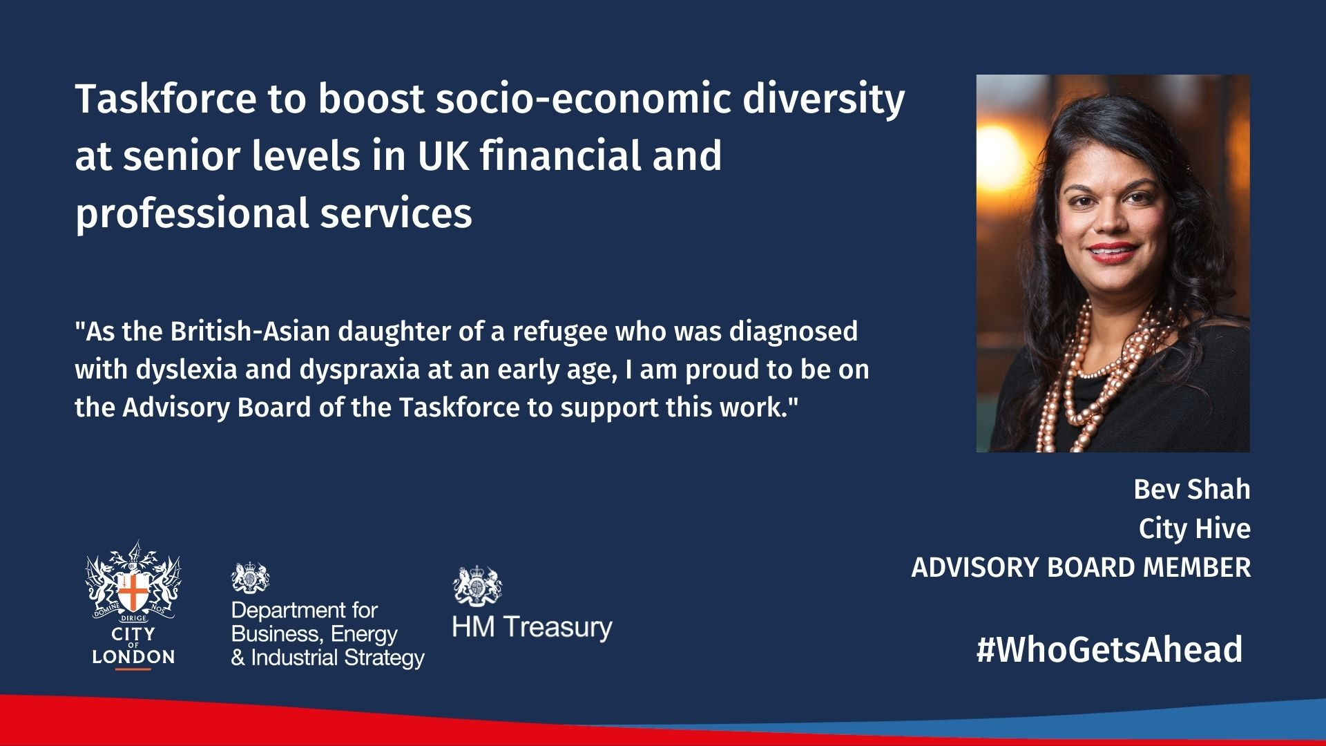 Bev Shah Joins Advisory Board For Government Back Taskforce For Socio-Economic Diversity At The Top